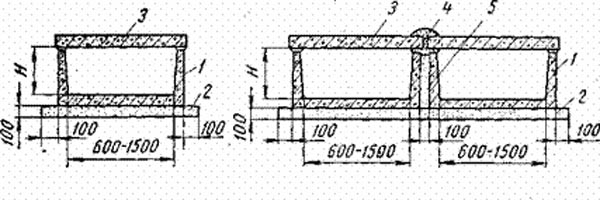 одноячейковые или двухячейковые конструкции из лотков